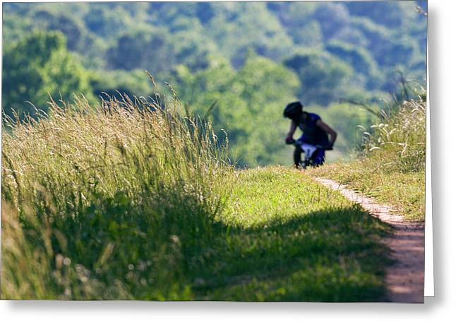 A Mountain Biker Looks Back Greeting Card
