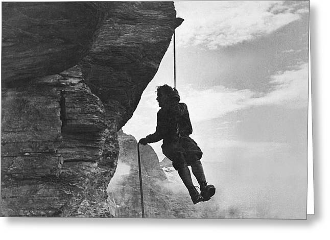 A Mountain Climber Rappelling Greeting Card