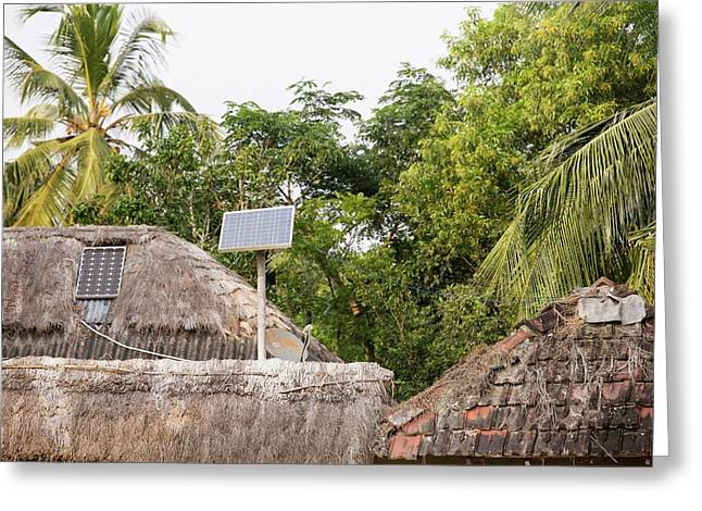 A Mud Hut With A Small Solar Panel Greeting Card by Ashley Cooper