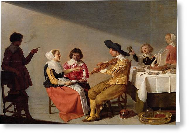 A Musical Party, 1631 Oil On Panel Greeting Card by Jacob van Velsen