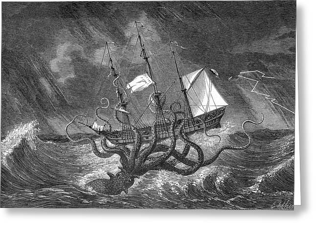 A Mythical Kraken Attacking A Sailing Greeting Card