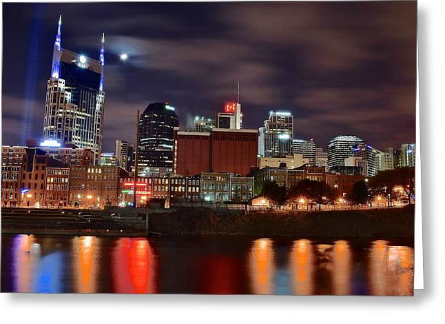 A Nashville Night Greeting Card by Starving  Artist