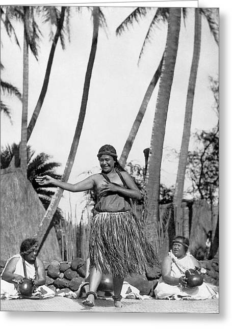 A Native Hawaiian Dancer Greeting Card by Underwood Archives