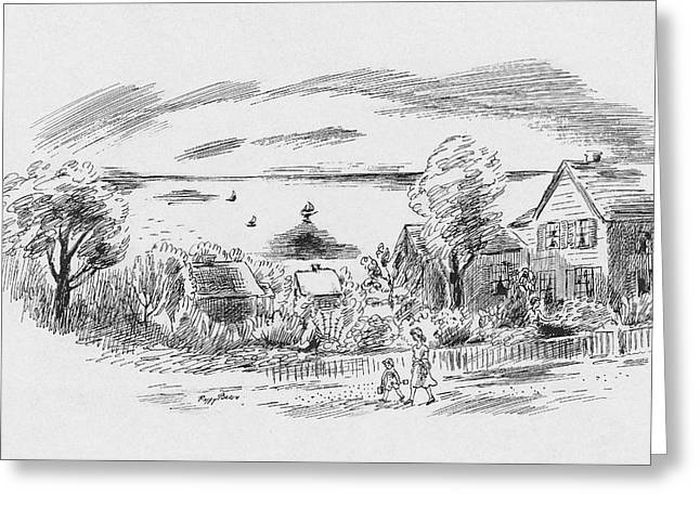 A New England House Greeting Card by Peggy Bacon