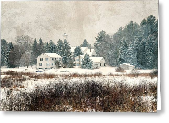 A New England Village In Winter- Antique - Textured Greeting Card