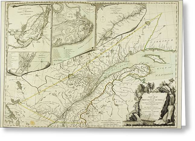 A New Map Of The Province Of Quebec Greeting Card by British Library