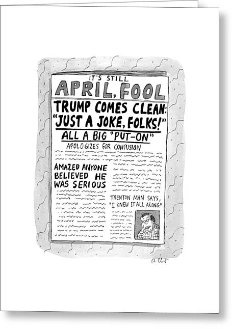 A Newspaper Front Page About Donald Trump's Greeting Card by Roz Chast