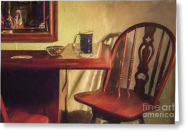 A Nice Mug O' Stout At The Pub Greeting Card by Diane Diederich