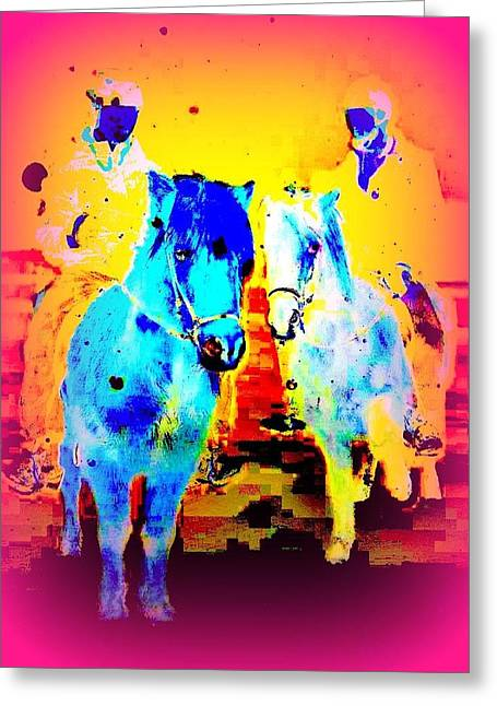 A Nice Ride On The Furry Ponies  Greeting Card by Hilde Widerberg