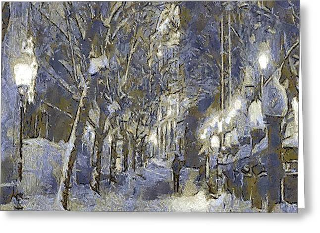 A Night Full Of Snow Greeting Card by Dragica  Micki Fortuna