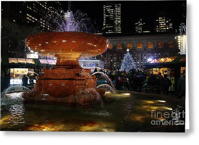 A Night In Bryant Park Greeting Card by Nicholas Santasier