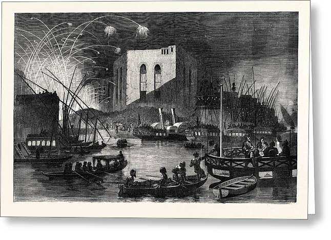 A Night Scene On The Nile Near The Mouth Of The Cairo Canal Greeting Card