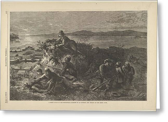 A Night Scout In The Southwest - Greeting Card by Thomas Nast