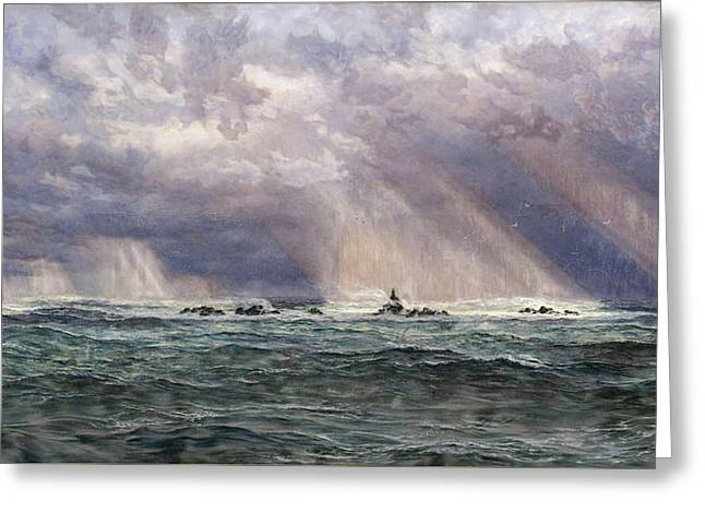 A North-west Gale Off The Longships Lighthouse Greeting Card by John Brett