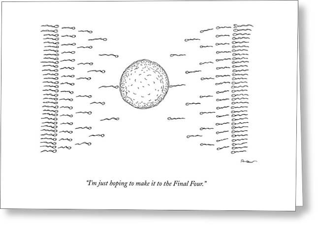 A Number Of Sperms Approach An Egg In The Shape Greeting Card
