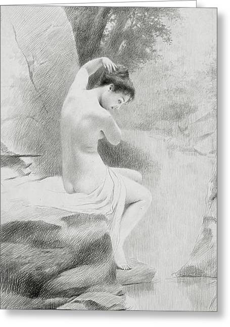 A Nymph Greeting Card by Charles Prosper Sainton