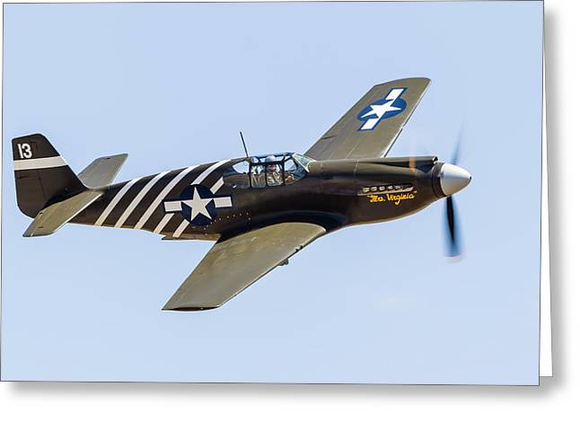 A P-51a Mustang Flying Over Chino Greeting Card