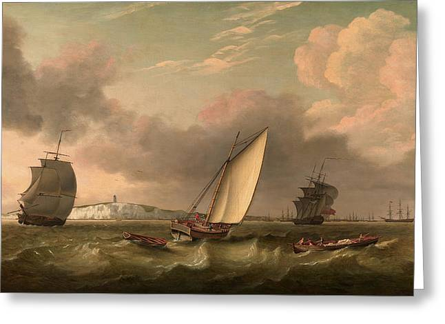 A Packet Boat Under Sail In A Breeze Off The South Foreland Greeting Card by Litz Collection
