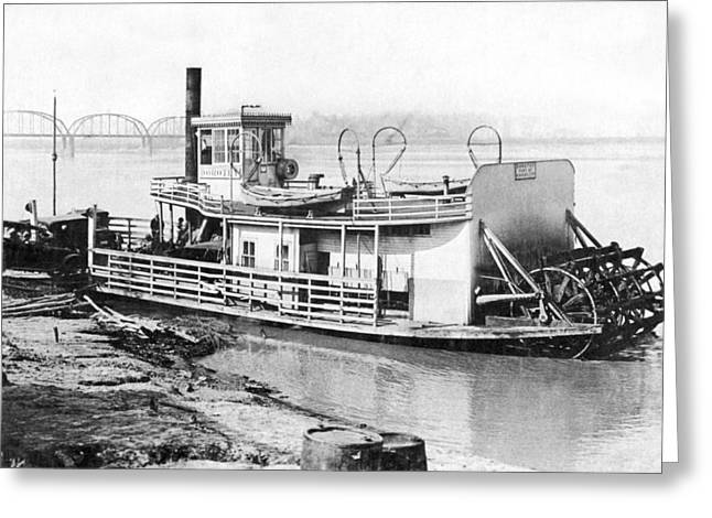 A Paddlewheel Ferry Boat Greeting Card by Underwood Archives