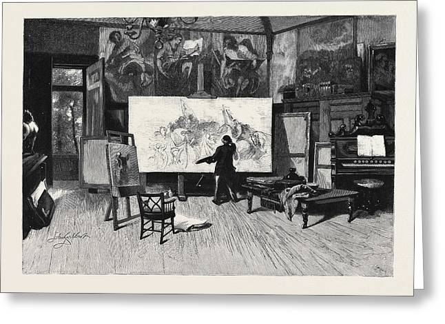 A Painter At Work In His Studio From The Picture By Sir Greeting Card