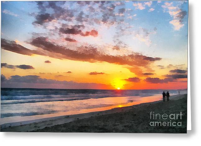 A Painting Of The Sunset At Sea Greeting Card by Odon Czintos