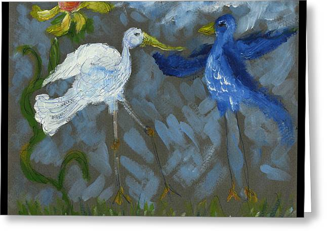 A Pair Of Birds In Paradise  Greeting Card by Cathy Peterson