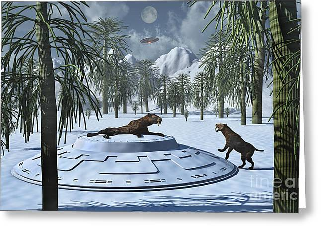 A Pair Of Sabre-tooth Tigers Greeting Card by Stocktrek Images
