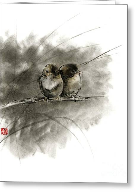 A Pair Of Sparrows Two Birds Brown Bird Original Ink Painting Artwork Greeting Card