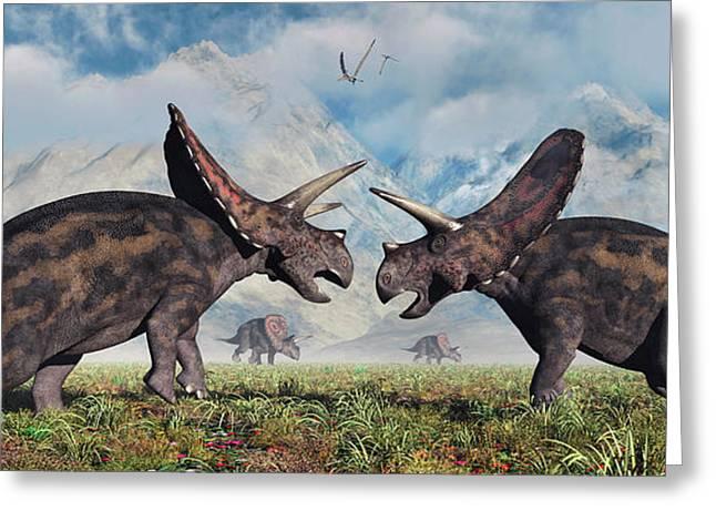 A Pair Of Torosaurus Dinosaurs Involved Greeting Card by Mark Stevenson