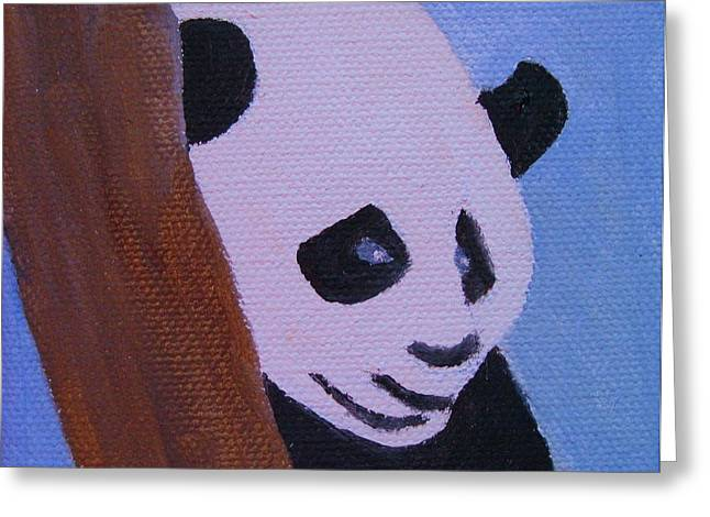 A Panda In The Tree Greeting Card by Edna Fenske