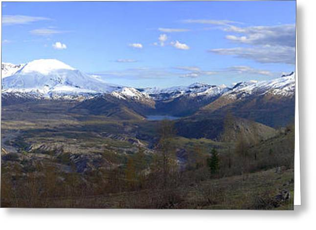 A Panoramic View Of Mt St Helen's And Sorroundings. Greeting Card by Gino Rigucci