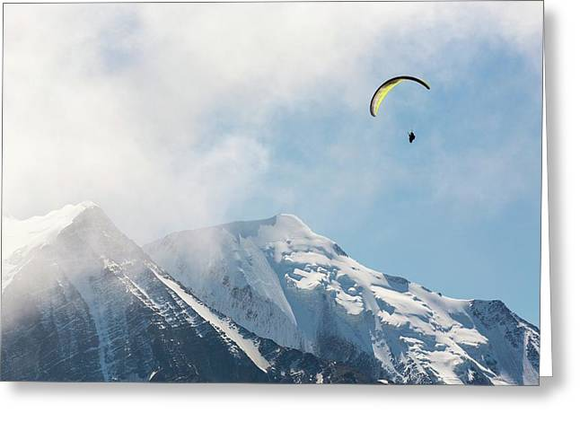 A Paraponter Over Mont Blanc Greeting Card