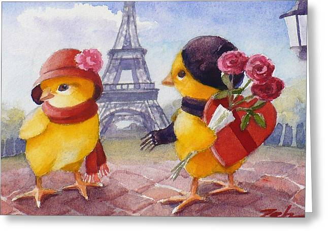A Paris Valentine Greeting Card by Janet  Zeh