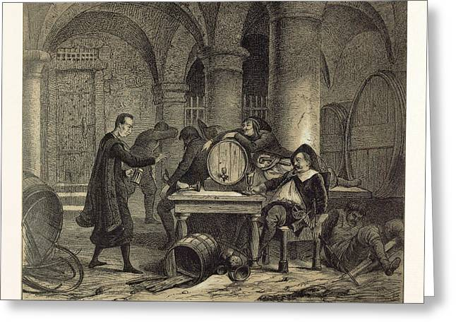 A Party In The Nineteenth Century In The Wine Cellar Greeting Card by English School