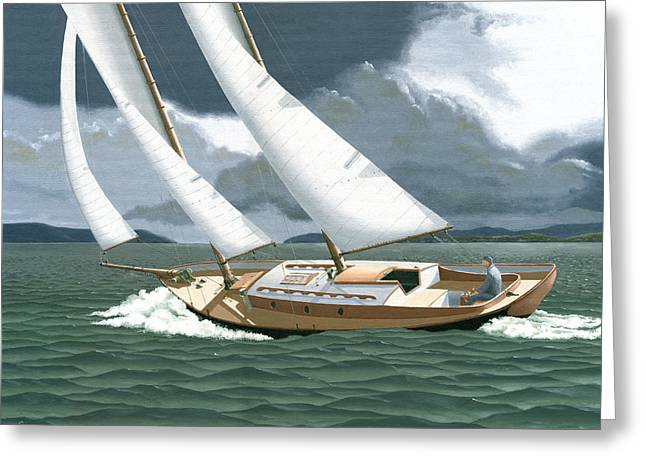 Greeting Card featuring the painting A Passing Squall by Gary Giacomelli