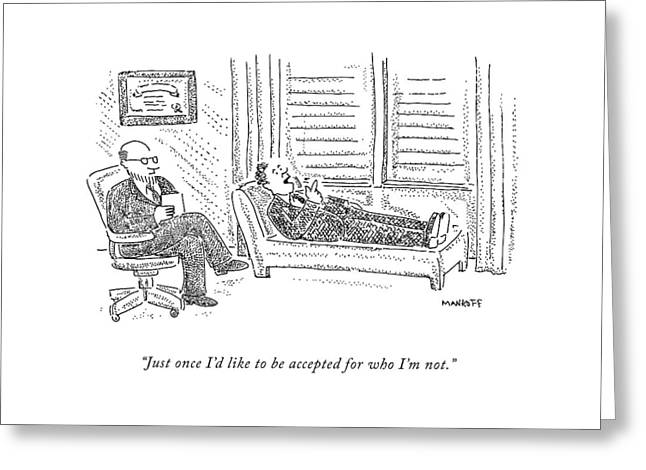 A Patient On The Couch Talks To His Analyst Greeting Card