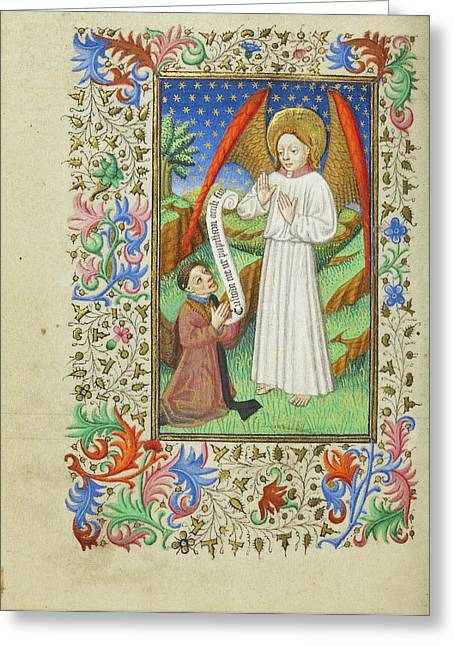 A Patron And His Guardian Angel Master Of Sir John Fastolf Greeting Card by Litz Collection