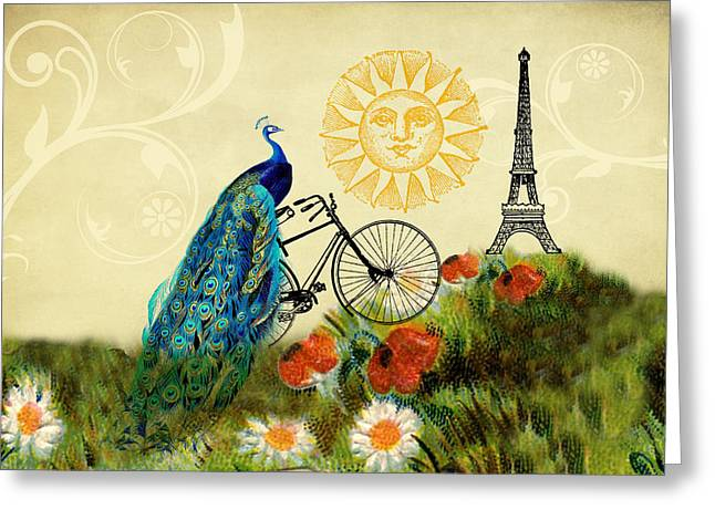 A Peacock In Paris Greeting Card by Peggy Collins