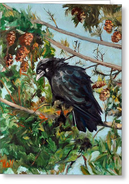 A Perch For Nevermore Greeting Card by Pattie Wall