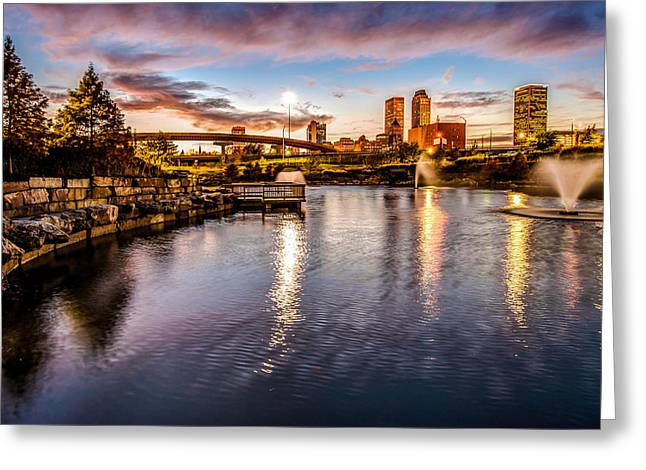 A Perfect Night - Tulsa Oklahoma  Greeting Card by Gregory Ballos
