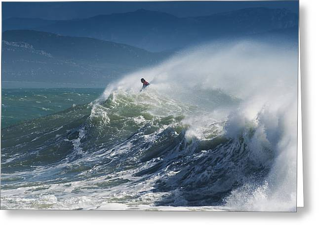 A Person Surfing In The Waves Along The Greeting Card by Ben Welsh