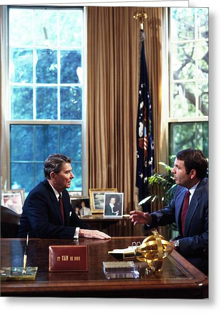 A personal meeting with President Ronald Reagan in the Oval Office in the 1980s Poster Print by Stocktrek Images 24 x 24
