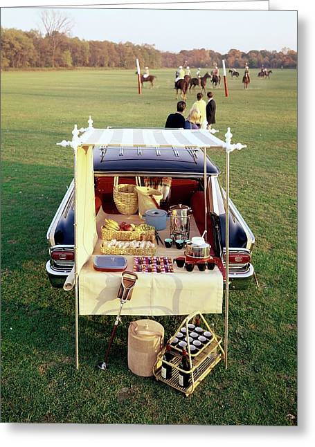 A Picnic Table Set Up On The Back Of A Car Greeting Card