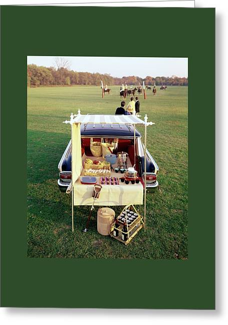A Picnic Table Set Up On The Back Of A Car Greeting Card by Rudy Muller