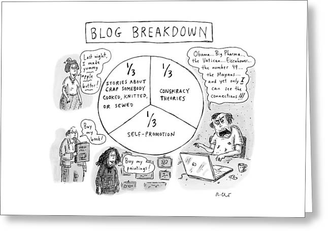 A Pie Chart Titled Blog Breakdown Is Divided Greeting Card