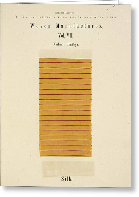 A Piece Of Silk With Red Stripes Greeting Card by British Library