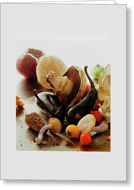 A Pile Of Vegetables Greeting Card by Romulo Yanes