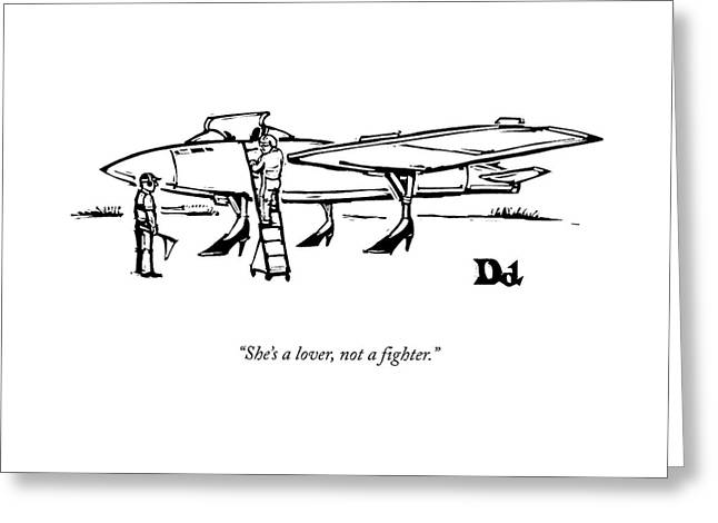 A Pilot Speaks To A Technician On The Tarmac: Greeting Card by Drew Dernavich