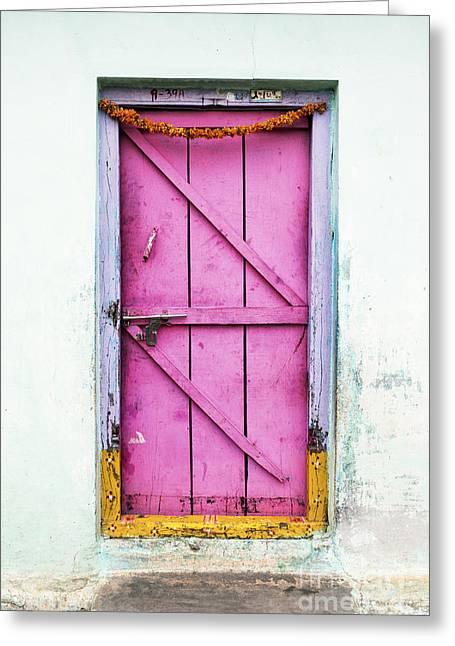 A Pink Door Greeting Card by Tim Gainey