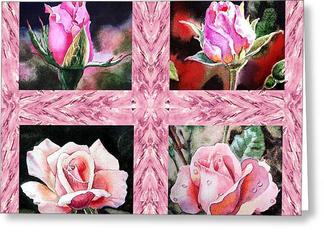 A Pink Quartet Of Single Roses Greeting Card